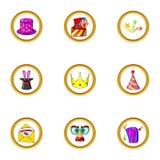Magic night icon set, cartoon style. Magic night icon set. Cartoon set of 9 magic night vector icons for web isolated on white background Royalty Free Stock Photos