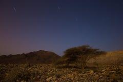 Magic night in Israel Negev desert. Stars shining Royalty Free Stock Images