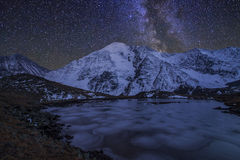 Magic night landscape with mountains, frozen lake Royalty Free Stock Images