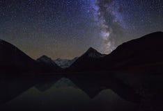 Free Magic Night Landscape With Mountains, Frozen Lake And Amazing St Stock Photo - 48073400