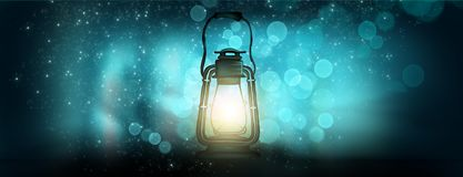 Magic night lantern. Abstract. Magic night lantern. Night flashlight on a beautiful background bokeh, rays of magical light in the dark royalty free illustration