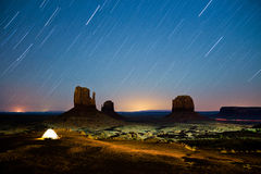 Magic night in Monument valley. 25 minutes long exposure time during night near View hotel Stock Photography