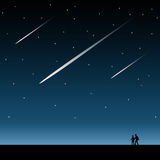 Magic night. With shooting stars in the sky Stock Photo