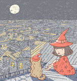 Magic Night. Vector drawing a girl with a cat on a roof on Halloween night Stock Photos