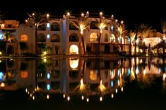 Magic nights 2. Night view Swimming pool Hotel Savoy Resort Sharm El Sheikh Egypt Royalty Free Stock Image