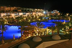 Magic nights. Night view Swimming pool Hotel Savoy Resort Sharm El Sheikh Egypt Stock Images