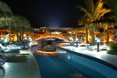 Magic nights in Egypt. Night view of pool and palms Stock Images