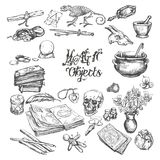 Magic object hand drawn vector set. Royalty Free Stock Photos