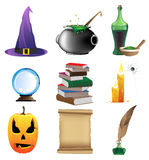 Magic objects. Halloween set of witchcraft tools. Nine magic icons on white background Royalty Free Stock Photos