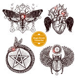 Magic Occult Tattoo Set. Occult Tattoo Sketch Concept. Occult Tattoo Hand Drawn Set. Magic Modern Tattoo Vector Illustration. Magic Occult Tattoo Symbols. Magic Stock Photos