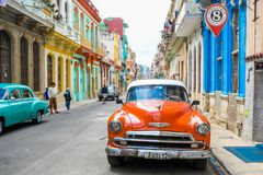 Magic old havana. Cars in th beautiful and magic old havana, Cuba Stock Image