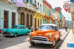 Magic old havana. Orange car in th beautiful and magic old havana, Cuba Stock Photography