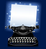 Magic old typewriter with a paper in blue scintillant light. There is in addition a vector format EPS 10 Royalty Free Stock Image