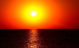 Magic orange sunset over sea Stock Photo