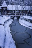 Magic over the frozen river. A beautiful picture of a frozen river, with all covered in sbow Royalty Free Stock Photo