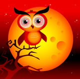 Magic owl. Halloween spooky moon with owl on a branch and dark red sky vector illustration