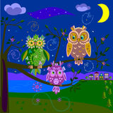 Magic owls royalty free illustration