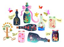 Magic Pantry. Fairy tale. Cute cartoon allegorical illustration. Bottles and cans of jam, pleasant memories and a real adventure. Stock Photo