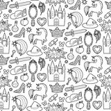 Magic Patch Seamless Pattern. Fashion patch seamless pattern with magic and fairy tale objects isolated on white background. Pin badges and stickers collection Royalty Free Stock Photography