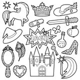 Magic Patch Set. Fashion Patch Set with magic and fairy tale objects isolated on white background. Pin badges set. Stickers collection. Black and white appliques Royalty Free Stock Photos