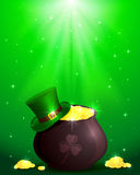 Magic Patricks day background. Hat and pot with leprechauns gold on shiny green background, illustration Royalty Free Illustration