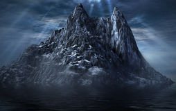 Magic peak. Picture of a dark mountain and sea with a cloudy sky Stock Image