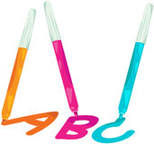 Magic pen writing A,B and C Stock Photo