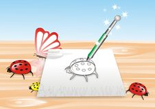 Magic pencil. Things Going out from paper Royalty Free Stock Images