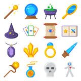 Magic performance decorative icons set magician vector. Stock Photography