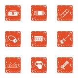 Magic photo icons set, grunge style. Magic photo icons set. Grunge set of 9 magic photo vector icons for web isolated on white background vector illustration