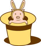 Magic pig. A pig inside a magic hat wearing a rabbit shape accessory royalty free illustration