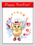 Magic pig santa, funny pig with magic wand and hearts, separate on transparent background, holidays illustration, winter, cartoon vector illustration
