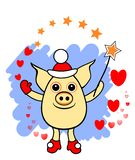 Piggie. Piglet wizard with magic wand and hearts & stars, separate on transparent background. royalty free illustration
