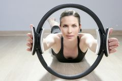 Magic pilates ring woman aerobics sport gym Stock Image