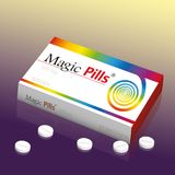 Magic Pills Packet Of Tablets. Medicine packet named MAGIC PILLS, a medical panacea product to promise miracle cure, assured health or other wonders concerning stock illustration