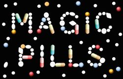 Magic Pills Medicine. MAGIC PILLS written with pills and capsules, symbolic for promise of miracle cure medicine and assured health. Isolated vector illustration Stock Photography