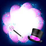 Magic pink background with taxt place. Magic vector background with magic stick Royalty Free Illustration