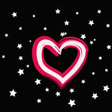 Magic pink heart with white star on a black background Stock Photo