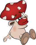Magic poisonous mushroom. Cartoon Stock Image
