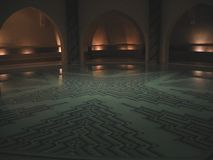 Magic Pool. A pool in the basement of a large mosque in Casablance / Morocco Stock Photos