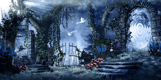 Magic portal in the abandoned garden. Fantasy scenery with ruins, trees and magic portal Stock Photo