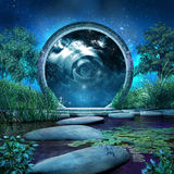 Magic portal on the lake. Fantasy scene with magic portal and blue lake Royalty Free Stock Photography