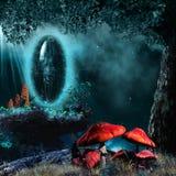 Magic portal and red mushrooms Royalty Free Stock Photo