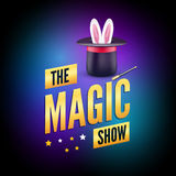Magic poster design template. Magician logo concept with hat, rabbit and wand Royalty Free Stock Image