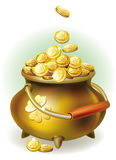 Magic pot with gold coin. St. Patrick day Royalty Free Stock Photography