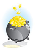 Magic pot with gold coin. Illustrated Royalty Free Stock Images