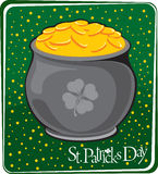 Magic pot with gold coins Royalty Free Stock Photography