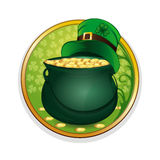 Magic pot of gold and leprechaun hat. Celebrating St. Patricks Day symbols Royalty Free Stock Images