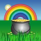 Magic pot with leprechaun gold coins for St. Patricks Day Stock Photo