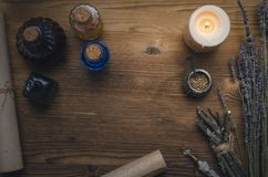 Magic potion. Phytotherapy. Alternative herbal medicine. Shaman. Druidism. Magic potion. Alternative herbal medicine. Shaman table with copy space. Druidism Royalty Free Stock Image